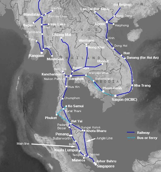 карта железных дорог Таиланда